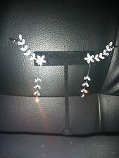 Korean Crystals Ear Cuffs Hoop flowers Sterling long Silver Stud Earrings