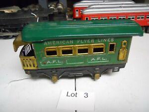 Lot 03: American Flyer Vintage 4-Wheel Green Passenger Observation Car