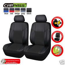 Universal Black Leather Car Seat Covers Two Front Car Seat Cover Set Airbag Fit