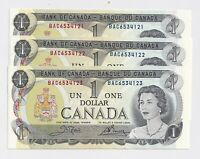 3 x Sequential 1973 $1 Bank of Canada Notes UNC