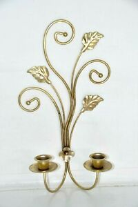 """Vintage Gold Tone Metal Candle Holder Wall Sconce Double 14"""" x 8"""""""
