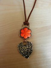 BARSE Bronze and Leather and Orange Howlite Flower Pendant Necklace MSRP $78