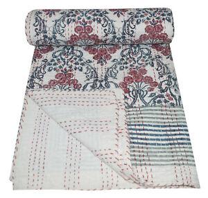 Hand Block Print Twin Cotton Kantha Quilt Throw Blanket Bedspread Indian Throw