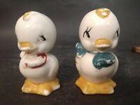 Vintage Baby Ceramic Chicks Salt and Pepper Shakers