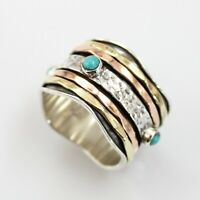 Turquoise Solid 925 Sterling Silver Spinner Ring Meditation Statement Ring V1036