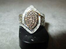 Natural Champagne & White Diamond Ring TGW 1.0ct