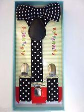 Baby Toddler Kids Child Black White Polka Dot Suspenders Bow Tie Gift Box Set