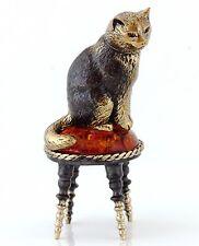 "Brass Cat Figurine on Padded Stool Russian Baltic Amber Animal Sculpture 2 9/16"""