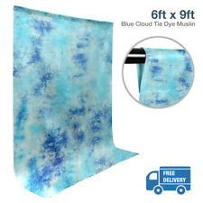 6 ft. x 9 ft. Crushed Blue Tie Dye Photography Studio Backdrop Muslin Non Glossy