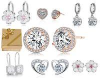 Edle Ohrringe Ohrstecker Ohrhänger Clip 925 Silber Zirkonia Geschenke für Frauen