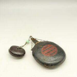 Japanese Rare, Antique, Gunpowder Box, Matchlock, with  the family crest