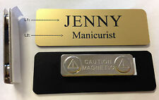 """Custom Employee Name Tag Matte Gold w Corner Rounds & magnet attachment 1"""" x 3"""""""