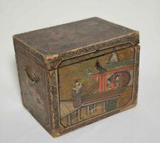 Antike China Holzschatulle Schmuckkästchen m. Chinoiserie Malerei Asiatika ~1820