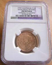 1939 NGC Graded AU Details Australia Half Penny 1/2d Kangaroo:A Unc