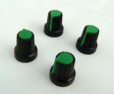 Quattro NERO / VERDE PUNTATORE Manopole Per Mixer, Chitarra pedale progetto 6mm spline POT
