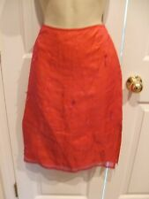 NWT $48 EXPRESS Burgundy Sheer 100% SILK Lined Embroidered Pencil Skirt Size 3/4