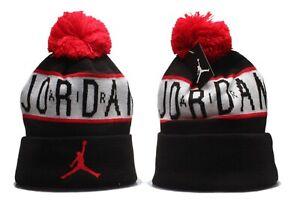 Michael Jordan Jumpman Winter Knit Beanie Cuffed POM Adult Unisex Black/Red