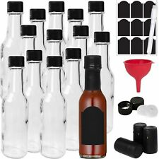 14-PACK Hot Sauce Bottles 5oz with Caps, Funnel for Kitchen, Chalk Labels