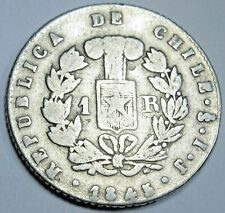 Chile 1845 IJ Santiago 1 Real Antique Chilean Currency Old Money Un Reales Coin