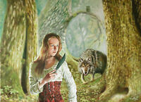 """31"""" Fantasy Red Riding Hood Fairy Tale Teen Girl Forest Bad Wolf Knife Painting"""