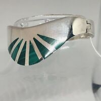 Taxco Mexico Turquoise Inlay Hinged Bangle Bracelet 925 Sterling 72 Gram Vintage