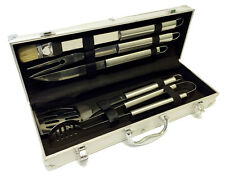 5 PC Stainless BBQ Barbecue Grill Outdoor Kitchen Utensil Tool Kit Set FREE CASE