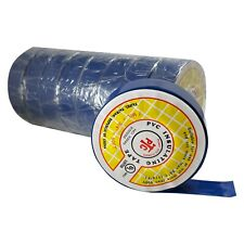 """10 Rolls Blue PVC Insulated Electrical Tape - 3/4"""" x 50' FT x 7 MILL - UL Listed"""