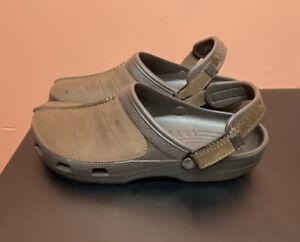 Crocs Yukon Mesa Slip On Leather Brown Slides Sandals,  Men's Size 13, 203294