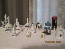 13 Collectible Ceramic/Metal Bells States Cities Amusement Parks Various Sizes