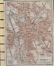 1925 GERMAN MAP ~ LEIPZIG CITY PLAN ENVIRONS ~ CHURCHES THONBERG STATIONS