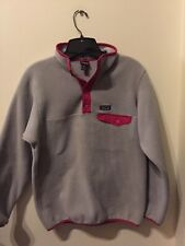 Girls Patagonia Pink/Silver Gray Synchilla Snap-T Fleece Pullover Mint! Xl 14