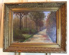 Huile / Panneau 1901 - E.LUX - Bûcheron au bois - 33 x 24 cm- H/P