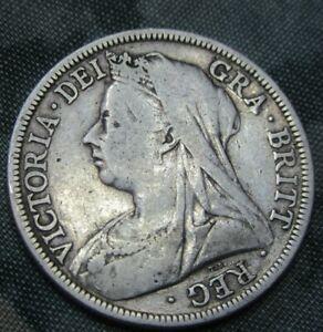 1900 QUEEN VICTORIA OLD HEAD SILVER HALF CROWN.