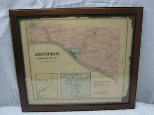 Framed 1868 Map of Amsterdam Montgomery Co.,NY Published by Stranahan & Nichols