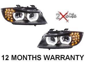 BMW 3 SERIES E90 E91 LCI 2009-2012 BLACK LED 3D DRL HEADLIGHTS LED INDICATORS