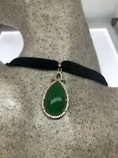 Vintage Jade Golden White Bronze Pendant Necklace Choker
