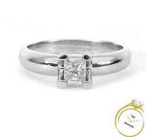 Solitaire .20ct Diamond Princess Cut Platinum Wedding Engagement Ring