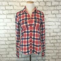Hollister Women's Red & Blue Plaid Classic Button Front Shirt Size Small