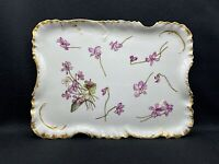 Antique Tray Hand Painted with Marvelous Violets, Vanity Jewelry Tray 11""