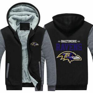 Baltimore Ravens Fan Hoodie Fleece zip up Coat winter Jacket warm Sweatshirt hot