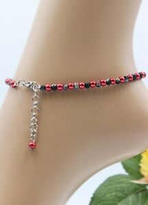 Glass Jewellery Stainless Steel Silver Anklet Bracelet Beads Red Soft Variable #
