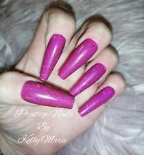 12pc Press On False Nails Extra Long Tapered Coffin POP PURPLE GLITZ