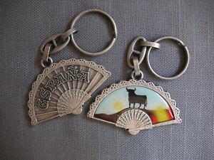 Spain Fan Key-chain - Pewter-toned - España - Bull at Sunset