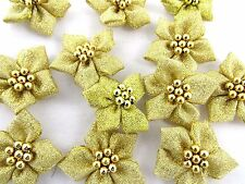 Christmas Poinsettia Gold, Silver / Green or Red Bows Gold/Silver Pearl Cluster