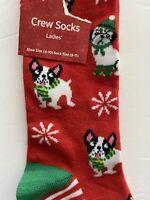 Women's Boston Terrier Pug Christmas Socks French Bulldog Shoe Size 4-10 Red