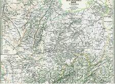142 Jahre alte Landkarte DEUTSCHLAND Schwaben Lothringen Elsass Schweiz 1875