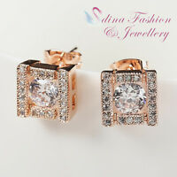 18K Rose Gold Plated Made With Swarovski Element Sparking Square Stud Earrings