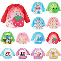 Baby Infant Kids Bibs Apron Waterproof Feeding Burp Long Sleeve Cloths Cartoon