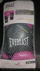 NEW PINK Everlast ELITE Pro Style Leather Training Boxing Gloves Size 8 Ounces