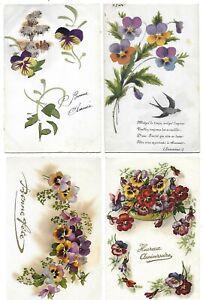 4 CPA cartes postales anciennes fleurs pensées  vœux flowers